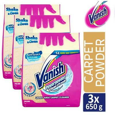 3 x Vanish Carpet Cleaner  Upholstery Power Dirt Remover Large Clean Area 650g