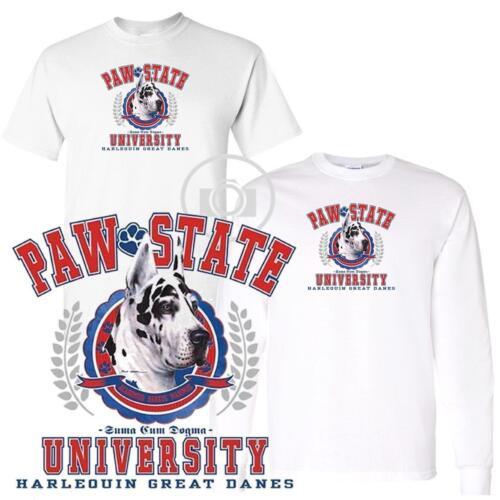 Harlequin Great Dane Paw State University Short Long Sleeve White T Shirt M-3X