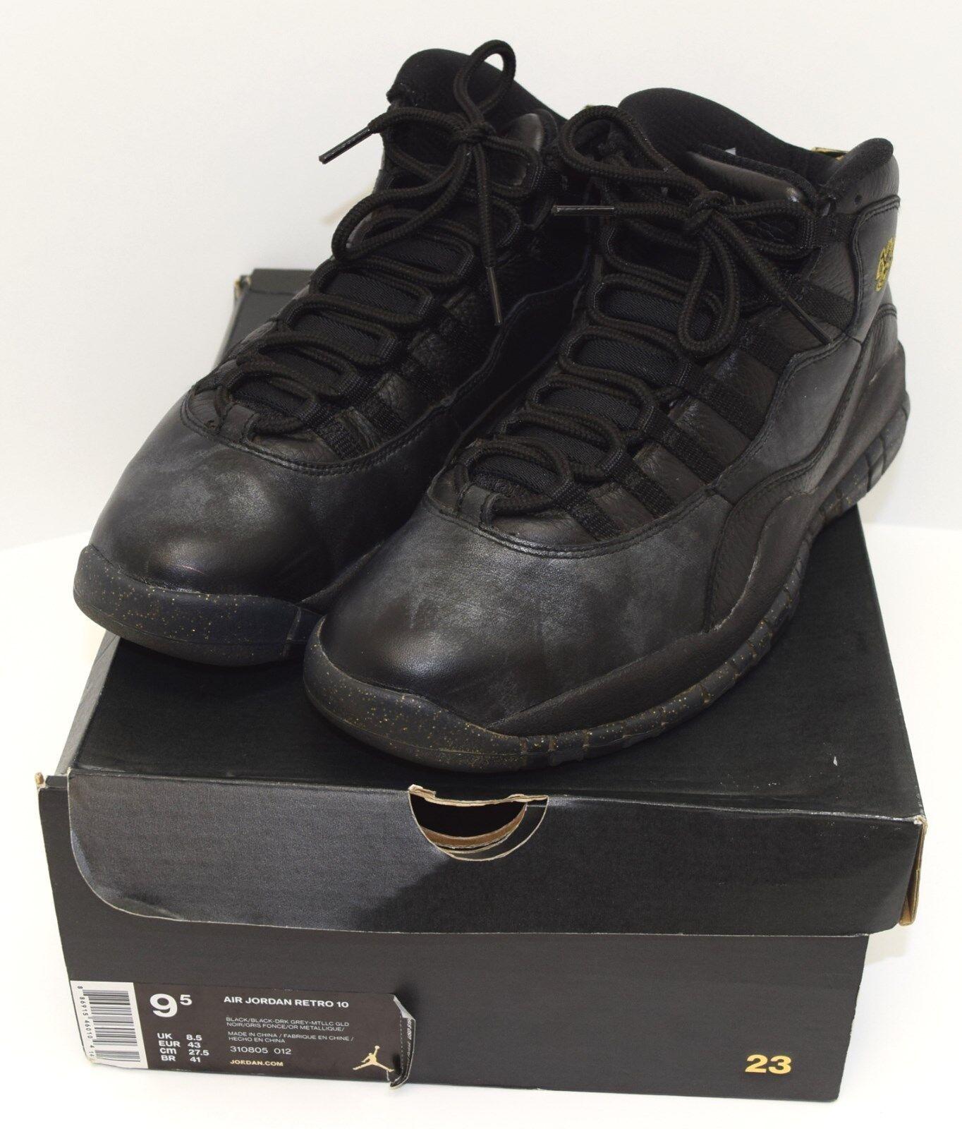 Nike air jordan x (10) retro new york 310805-012 metallico numero nero / uomo numero metallico 9,5 noi 3 2 2ec531
