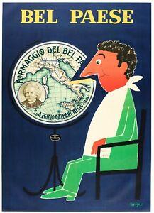 Affiche Originale - R. Savignac - Bel Paese Fromage - Italie - Galbani - 1966
