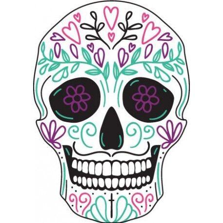 Tête mort skull couleur autocollant sticker adhesif Taille:12 cm
