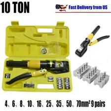 10 Ton Hydraulic Wire Cable Terminal Crimper Crimping Tool Pliers Set With 9 Dies