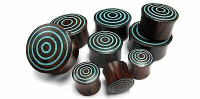 Target Turquoise Stone Sono Wood Plugs (6G - 1 Inch) - Sold in Pairs - New!