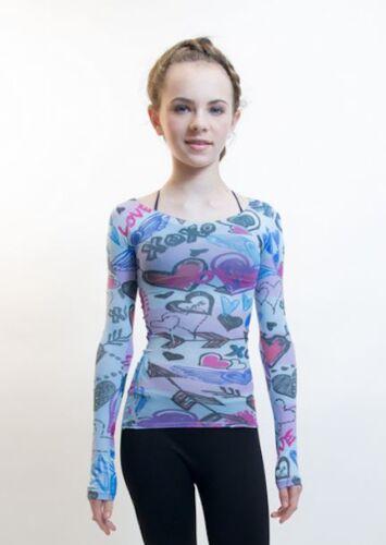 Girls L Sleeve Sheer Top Dance Gymnastics Yoga Ballet One Size 6-14 Women 0-8