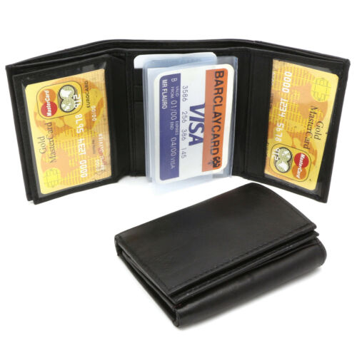 Trifold Genuine Leather Black Compact Wallet with 3 Card windows /& Clear Sleeves