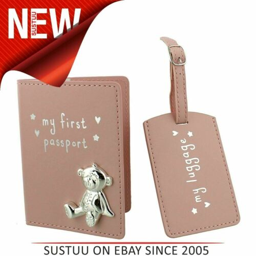 Bouton Coin PU mon premier passeport /& Luggage Tag │ cadeaux collectionset │ Rose │