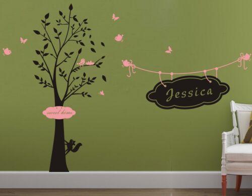 Custom Personalized Name Birds Tree Wall Art Stickers Kids Nursery Vinyl Decals