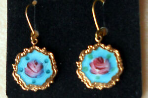 #1453 Vintage Earrings Guilloche Enamel Rose Floral Victorian Garden Party Tea