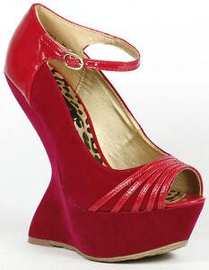 8bf97e628a Fuchsia Pink Suede Peep Toe Mary Jane Curved Platform Wedge ...