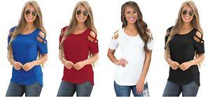 Ladies-blouse-Black-Crisscross-Cold-Shoulder-Short-Sleeve-Shirt-12-14-16-18-20