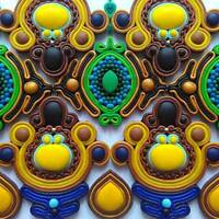 Blue Yellow Earrings Handmade Unusual Statement Colorful Fashion Jewellery Fimo