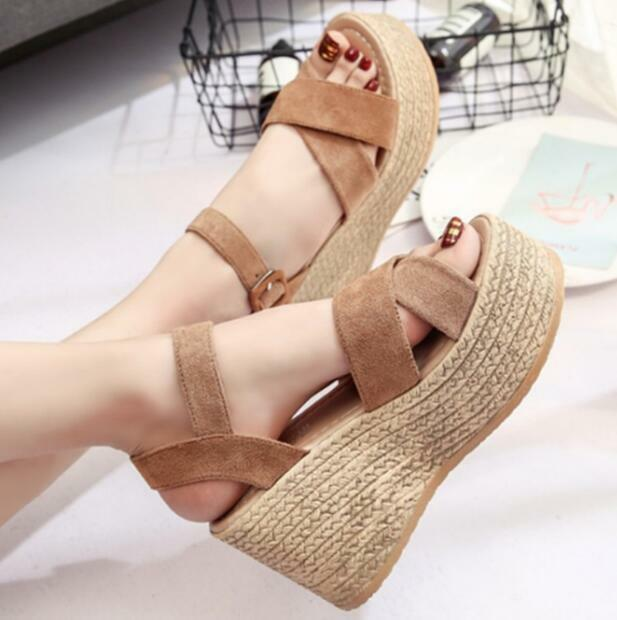 2018 Women Boho Summer Ankle Strap Wedge Heel Casual Platform shoes Beach Sandal