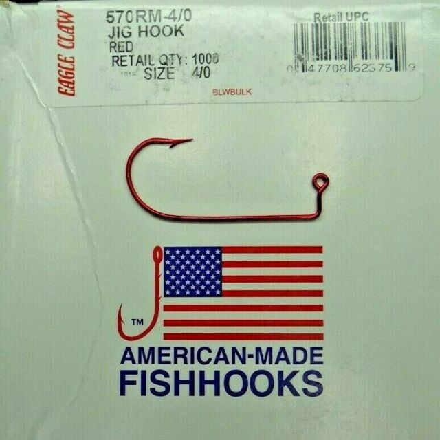 100 Size 2 EAGLE CLAW 570R Red Aberdeen Jig Hooks for DO IT Molds 90 degree