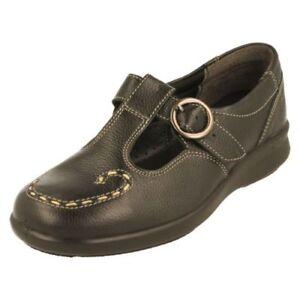 Easy-B-039-Jenny-039-pour-femmes-leger-Absorbeur-de-choc-Chaussures-cuir-noir-coupe-EE