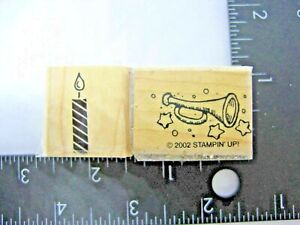 Stampin Up Rubber Stamps Party Horn and Candle Set of 2 Birthday Holiday