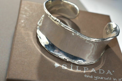 Details about  /SILPADA B1435 Sterling Silver Wide Cuff Bracelet Rolled Edge Beaded Curved