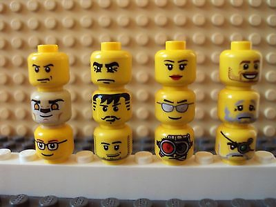 Lego Minifig Mixed Lot Of 12 Minifigure Heads//Faces People Part Classic Yellow D