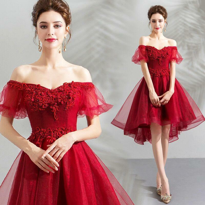 Lady Off-Shoulder Mini Red Dress Asymmetric Hem Falbala Prom Gown Bridesmaids