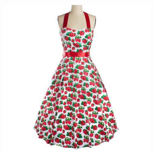 Strawberry Printing Halt Vintage Backless Dress