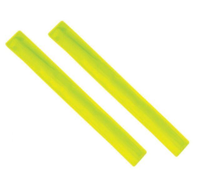 "2 x Yellow Flourescent Arm Strap Bands Hi Viz Reflective Safety Bands 13"" Long"
