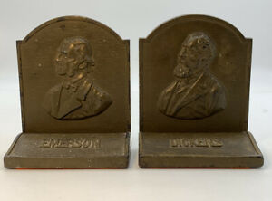 Vintage-Emerson-amp-Dickens-Bookends-Heavy-Cast-Iron-Vintage-Antique-Pair-20-2251