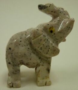 Hand-Carved-Stone-Animal-ELEPHANT-good-luck-figurine-Trunk-up-Raised-Bingo-Money