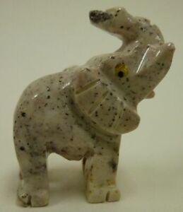 Hand-Carved-Stone-Animal-ELEPHANT-good-luck-figurine-Trunk-up-Raised-Bingo-Money