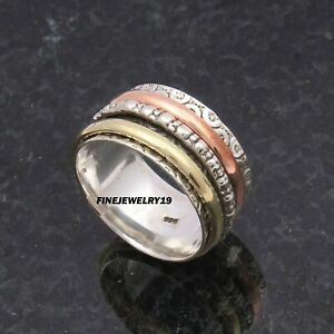 925-Sterling-Silver-Spinner-Ring-Wide-Band-Ring-Meditation-Handmade-Jewelry-PQ7