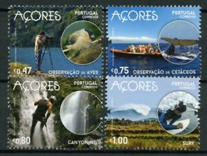 Portugal-Landscapes-Stamps-2016-MNH-Azores-Birds-Whales-Surfing-Nature-4v-Set