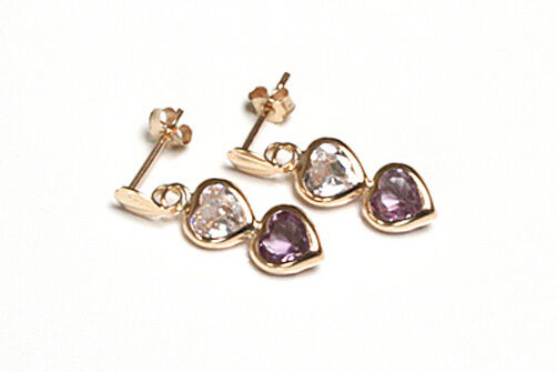 9ct gold Amethyst and CZ Heart Drop Earrings Gift Boxed Made in UK