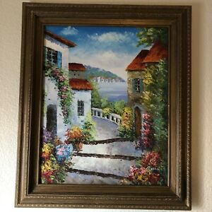 """Original Rossini Oil Painting Canvas Italy Houses & Sea Landscape 25""""x21"""" Framed"""