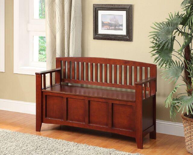 Storage Bench Seat Flip Top Wood Walnut Finish Entryway Furniture Home Gift