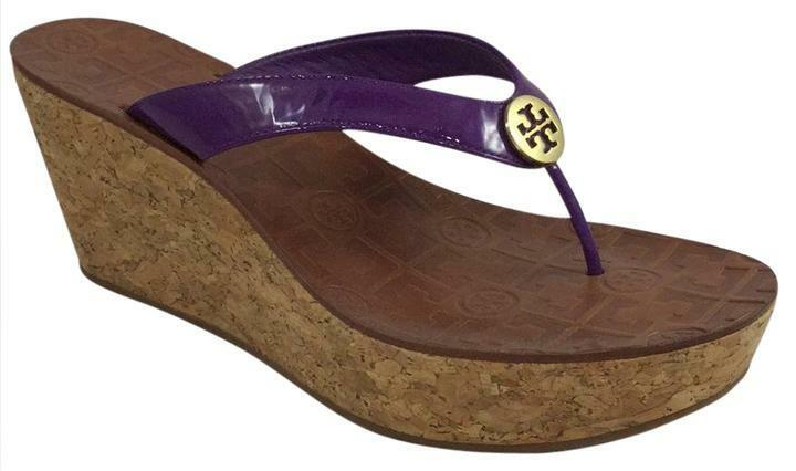 Tory Burch Purple Patent Leather Cork Platform Wedge thong Sandals 10