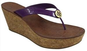 e08f17f14d9 Tory Burch Purple Patent Leather Cork Platform Wedge thong Sandals ...