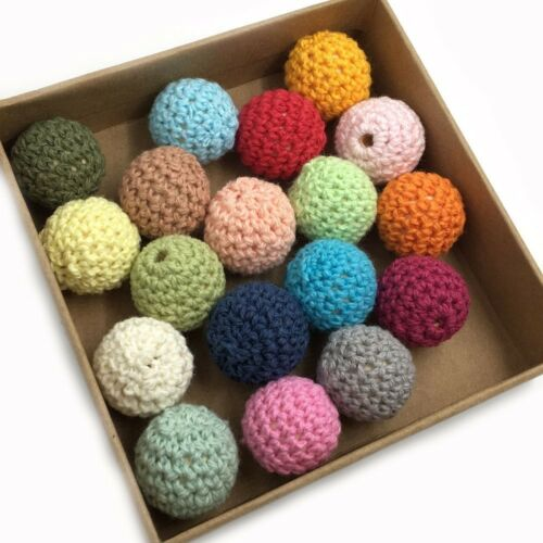 DIY Teething Chunky Crochet Wood Beads Baby  Nursing Round Beads Crafts Jewelry
