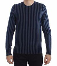 NEW $1100 DOLCE & GABBANA Sweater Blue Striped Cashmere Silk Pullover IT50 / L