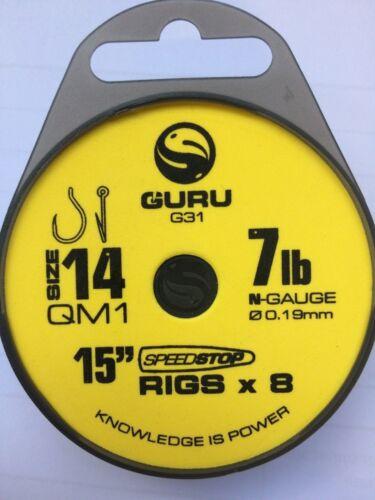 """8 RIGS PER PACK GURU 15/"""" QM1 HAIR RIGS WITH SPEEDSTOP"""