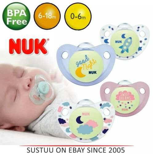 NUK Night /& Day Baby Silicone Dummy Pacifier Soothers Binky Pink//Blue 0-18m