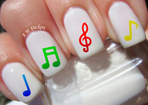 Image Is Loading Music Notes Nail Art Stickers Transfers Decals Set