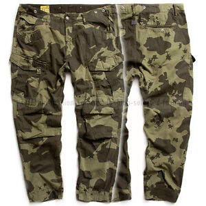 g star raw cargo pants rovic tapered military border camo sage jeans w32 l30 ebay. Black Bedroom Furniture Sets. Home Design Ideas