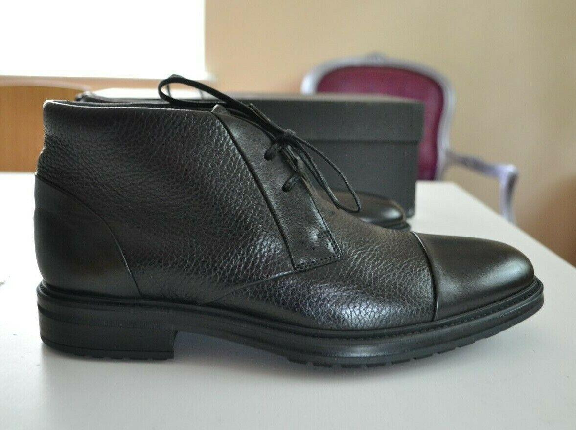 Hugo Boss Negro Tobillo botas Nuevo Eu 40 Suela de Goma Vestido Cordones