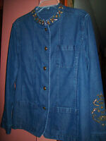 Tanjay Neru Collar Embellished Denim Blazer Jacket Ladies Size 18 Nice