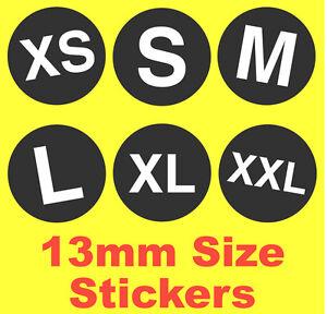 13mm Noir Détail Taille Stickers Étiquettes Autocollantes Xs S M L Xl Idéal Pour De Bons Compagnons Pour Les Enfants Comme Pour Les Adultes