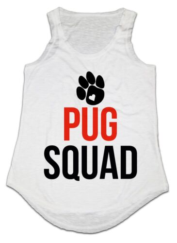 PUG SQUAD PAW FUNNY LADIES VEST TANK TOP ONE SIZE IDEAL GIFT BIRTHDAY PRESENT