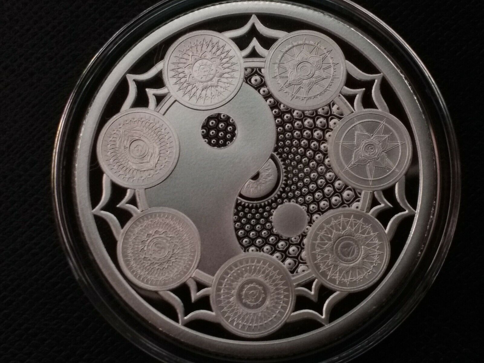 1 oz silver proof Cosmic Archetype seven Chakras yin and yang .999 Pure yoga