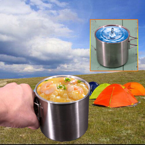 UK 500ml Stainless Steel Travel Camping Cookware Folding Handle Cup//Pot Scale
