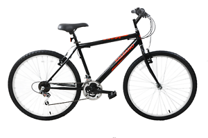 "Mens Mountain Bike Bicycle Excel 26"" Wheel 18"" Frame 21 Speed Black Red"
