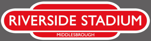 MIDDLESBROUGH RAILWAY TOTEM FOOTBALL SIGN.INSIDE OR OUTSIDE USE.STADIUM OF LIGHT