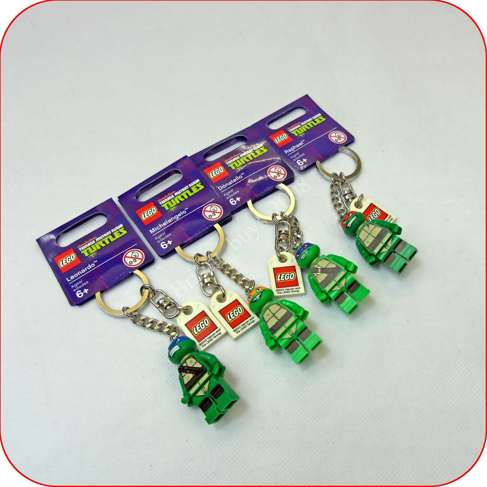 Lego Teenage Mutant Ninja Turtles keychains key ring full set New Genuine Rare