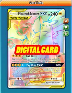 Pokemon Karten Gx Pikachu.Details Sur Rr Pikachu Zekrom Gx Rainbow Rare For Pokemon Tcg Online Ptcgo Digital Card Afficher Le Titre D Origine